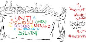 """10 novembre: """"Uniti e solidali contro il Governo, il razzismo e il Decreto Salvini"""""""